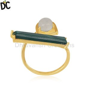 Malachite and Rainbow Moonstone Gold Plated 925 Silver Ring Manufacturer