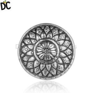 Flower Design Oxidized Tribal Plain Silver Womens Ring Jewelry