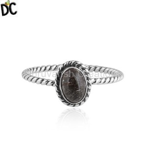 Oxidized Twisted Silver Black Rutile Gemstone Stackable Rings