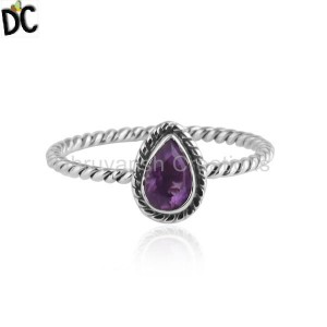 Pear Shape Amethyst Twisted 92.5 Silver Oxidized Stackable Rings
