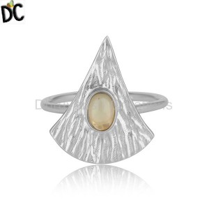 Texture Sterling Fine Silver Ethiopian Opal Gemstone Ring Jewelry