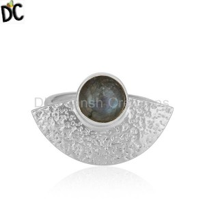 New 925 Sterling Fine Silver Texture Labradorite Gemstone Rings