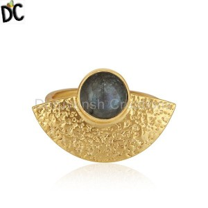 Handmade Gold Plated Texture Silver Labradorite Gemstone Rings