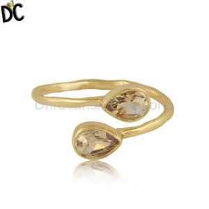 Natural Citrine Gemstone Designer Gold Plated Silver Womens Rings