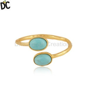 Arizona Turquoise Gemstone Designer Gold Plated Silver Rings