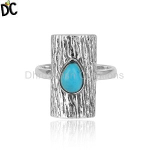 Natural Turquoise Gemstone Vintage Design Oxidized Silver Rings