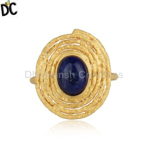 Oval Design Gold Plated 925 Silver Lapis Lazuli Gemstone Rings