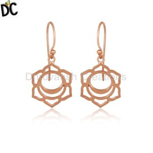 Rose Gold Plated 925 Plain Silver Svadisthana Chakra Earrings