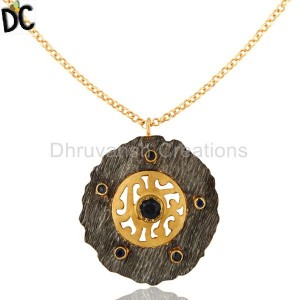 18K Yellow Gold Plated Sterling Silver Blue Sapphire Designer Pendant With Chain