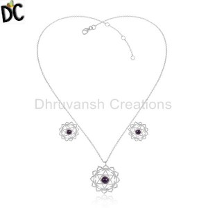 Fine Sterling Silver Chakra Design Amethyst Gemstone Chain Necklace