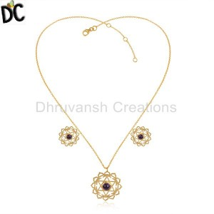 Amethyst Gemstone Designer Gold Plated 925 Silver Chakra Necklace