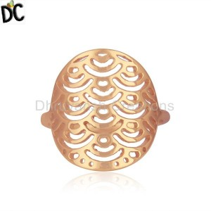 Rose Gold Plated Sterling Silver Designer Ring For Womens Jewelry
