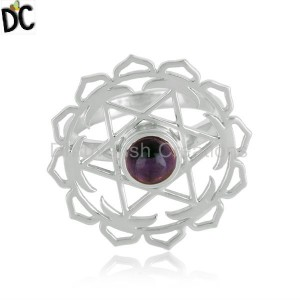 Natural Amethyst Gemstone Designer Chakra Sterling Silver Rings