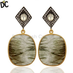 White Zircon Rutile Gemstone Silver Earrings Supplier Jewelry