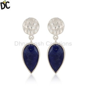 Dangle Design Sterling Fine Silver Lapis Lazuli Gemstone Earrings