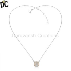 Rainbow Moonstone Designer Fine Silver Womens Chain Pendants