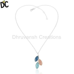 Rose Aqua and Blue Chalcedony Gemstone Fine Silver Chain Pendant