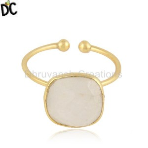 Cushion Design Gold Plated 925 Silver Rainbow Moonstone Rings