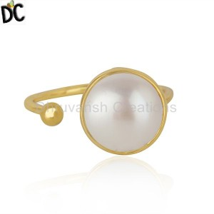 Natural Pearl Gemstone Yellow Gold Plated Silver Handmade Ring Jewelry