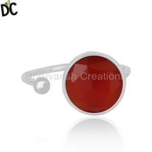 Indian 925 Sterling Fine Silver Natural Red Onyx Gemstone Ring Jewelry