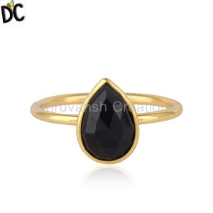 Yellow Gold Plated Silver Pear Shape Black Onyx Gemstone Ring Jewelry