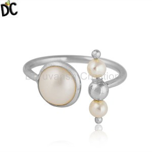 Natural Pearl Gemstone Designer 925 Sterling Fine Silver Rings