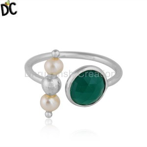 Fine 925 Silver Natural Green Onyx Pearl Gemstone Ring Jewelry