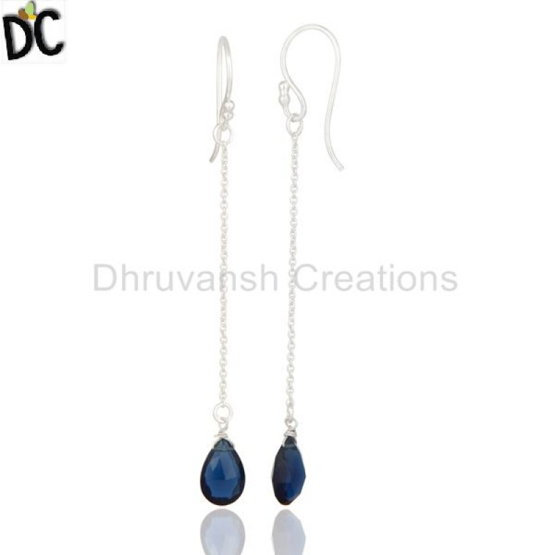 Silver Blue Corundum Gemstone Dangle Drop Earrings precious jewelry