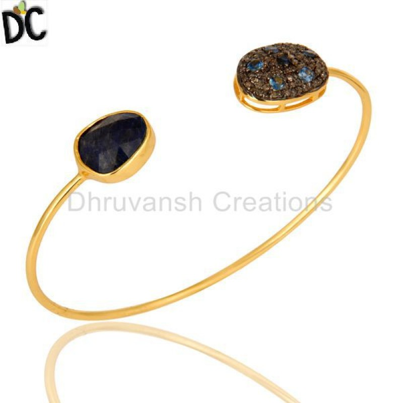 Gold Plated Blue Sapphire & Pave Diamond Bangle Jewelry Manufacturer