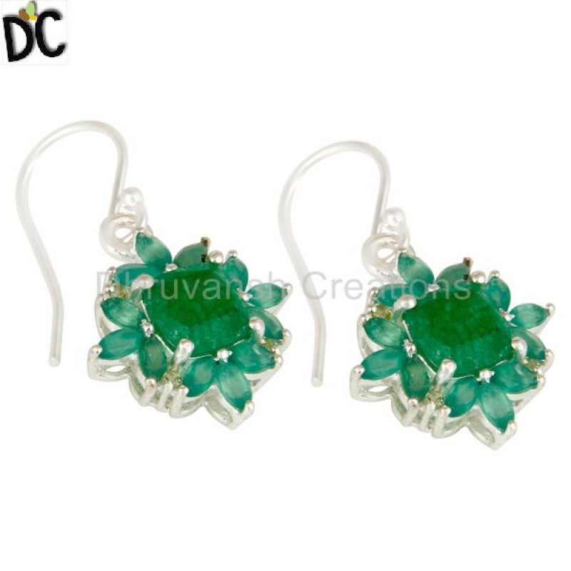 Multi Gemstone Silver Earrings handcrafted jewelry Wholesaler