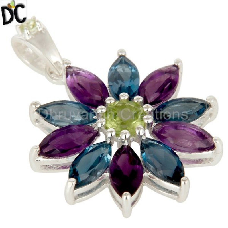 925 Sterling Silver Multi Gemstone Pendant semi precious stone jewelry