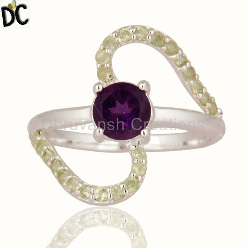 Amethyst & Peridot Stone Silver Ring Affordable jewelry Manufacturer