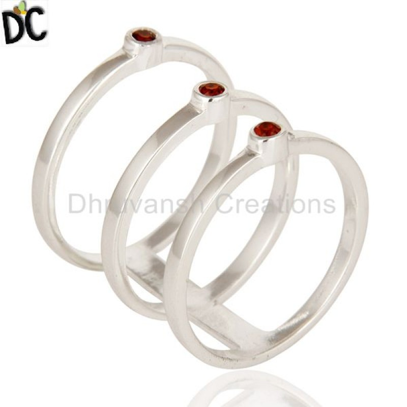 Garnet Gemstone Silver Ring Set of 3 Pieces buy jewelry online