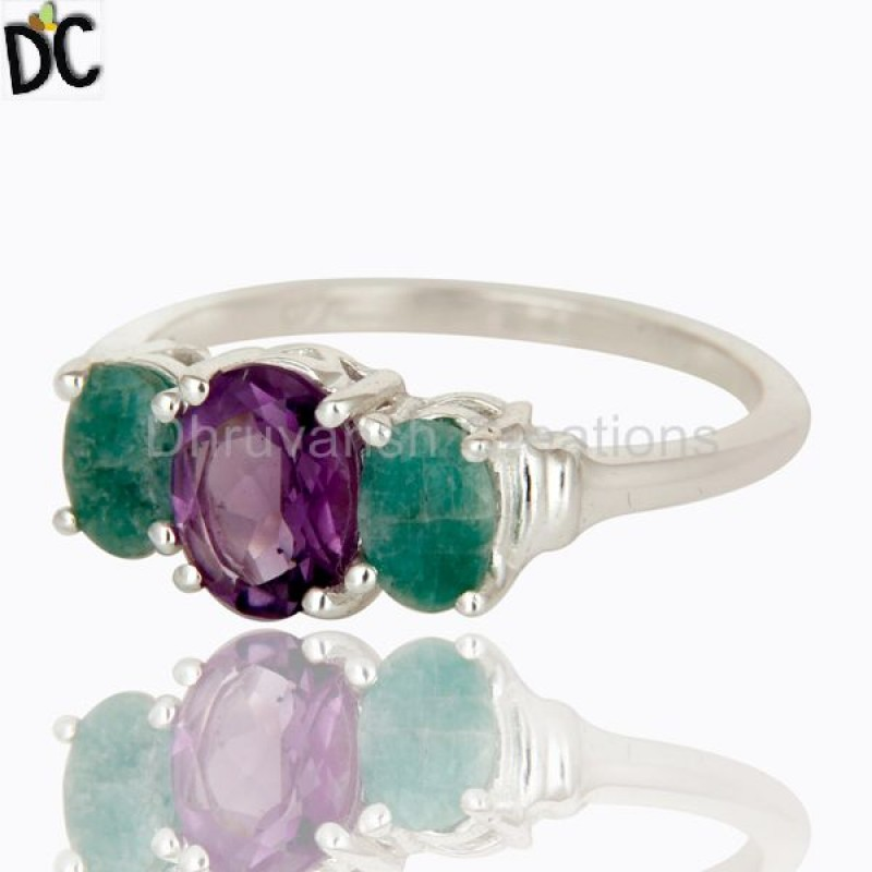 925 Sterling Silver Emerald Gemstone Ring girls jewelry Supplier