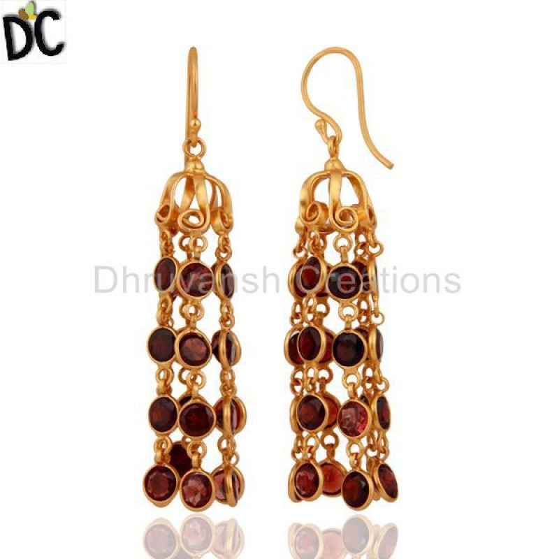 Designer Gold Plated 925 Silver Garnet Gemstone Earring Wholesale
