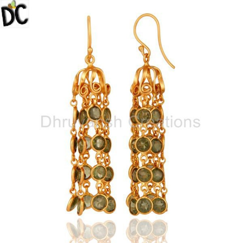 Natural Peridot Gemstone Gold Plated Silver Earring Manufacturer