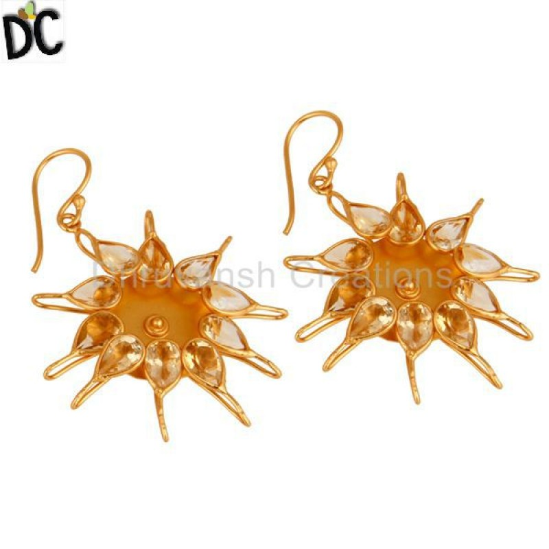 Citrine Gemstone 925 Silver Gold Plated Handmade Earring Wholesale