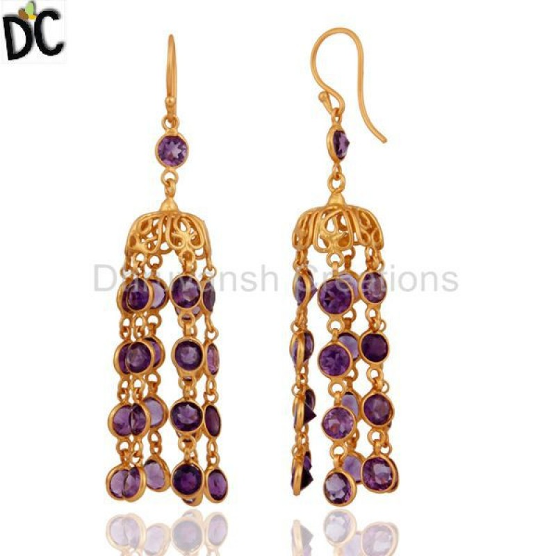 Amethyst Gemstone Designer Antique Look Gold Plated 925 Silver Earring
