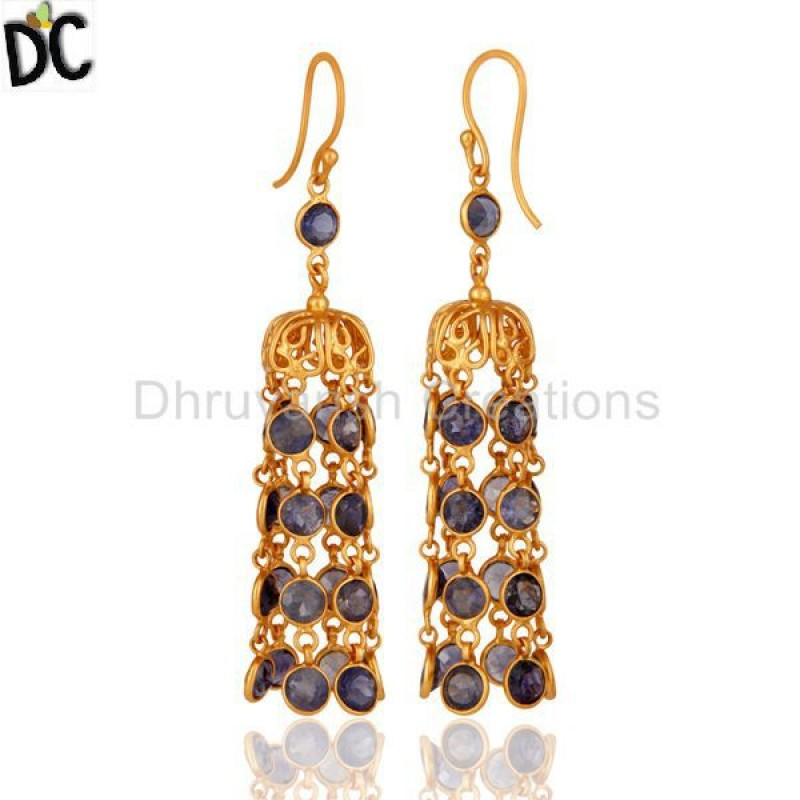 Yellow Gold Plated 925 Silver Iolite Gemstone Earring Wholesale