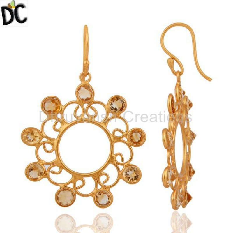 Artisan Crafted 925 Silver Gold Plated Citrine Stone Designer Earring