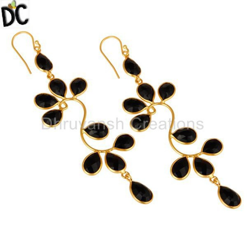 Yellow Black Onyx Gemstone Gold Plated 925 Silver Earring Wholesale