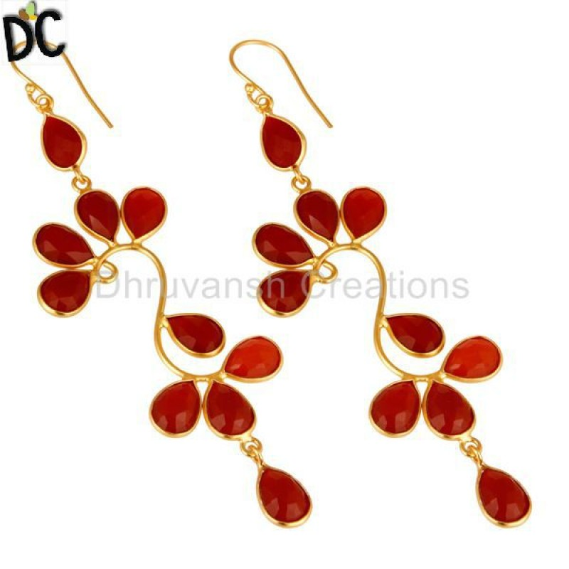 Yellow Gold Plated 925 Silver Red Onyx Earrings Gemstone Jewelry