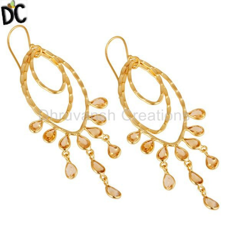 Yellow Gold Plated 925 Silver Citrine Gemstone Earrings Wholesale