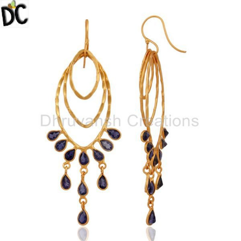 Hammered Gold Plated 925 Silver Iolite Gemstone Earring Wholesale