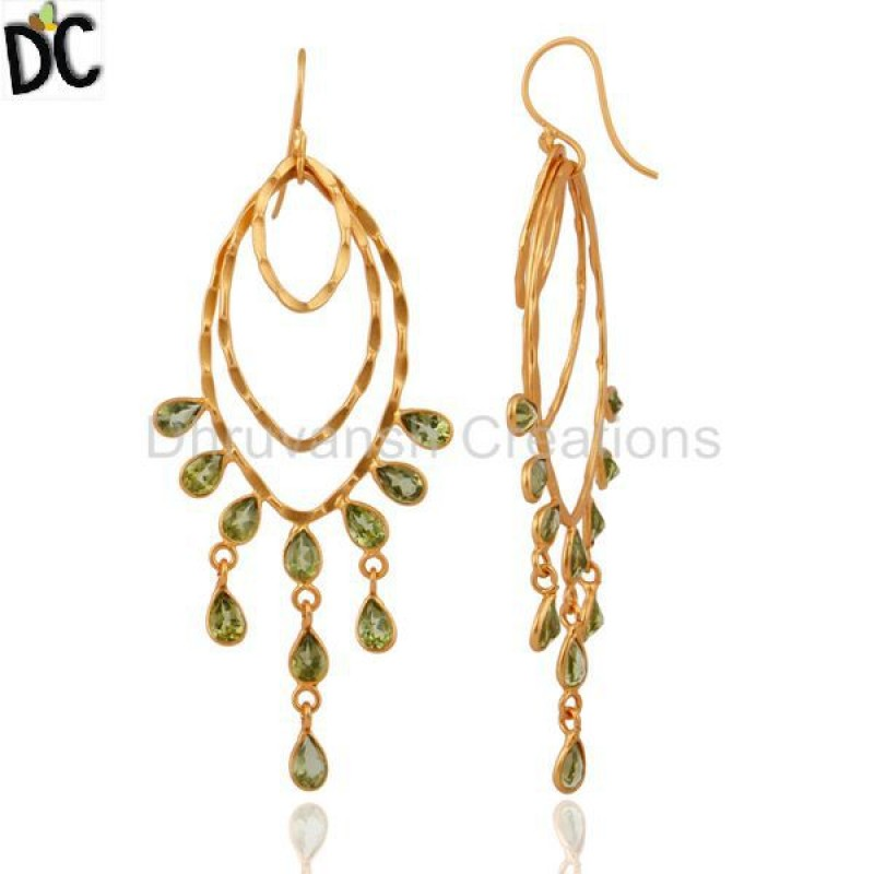 Natural Peridot Gemstone Gold Plated 925 Silver Earring Wholesale