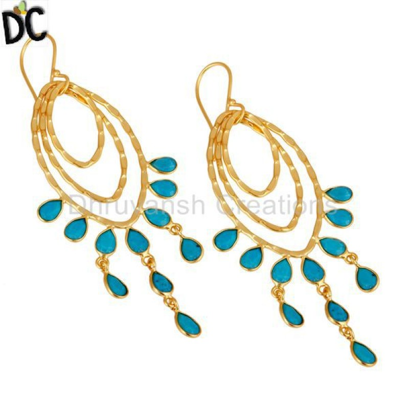 Gold Plated Sterling Silver Handmade Turquoise Gemstone Earring