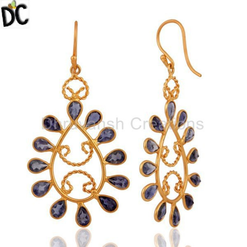 Handmade Iolite Gemstone Earrings In Gold Plated 925 Silver Jewelry