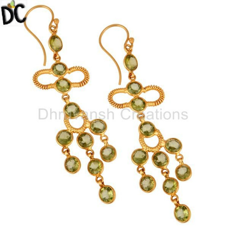 Handmade 925 Silver Gold Plated Peridot Gemstone Earring Supplier