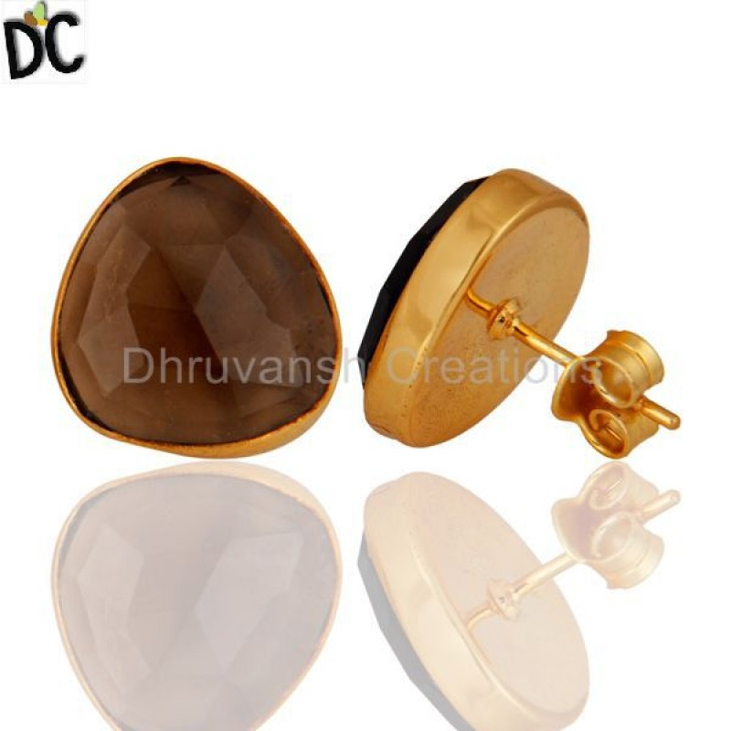 Smoky Quartz Gold Plated Sterling Silver Women Stud Earring Wholesale