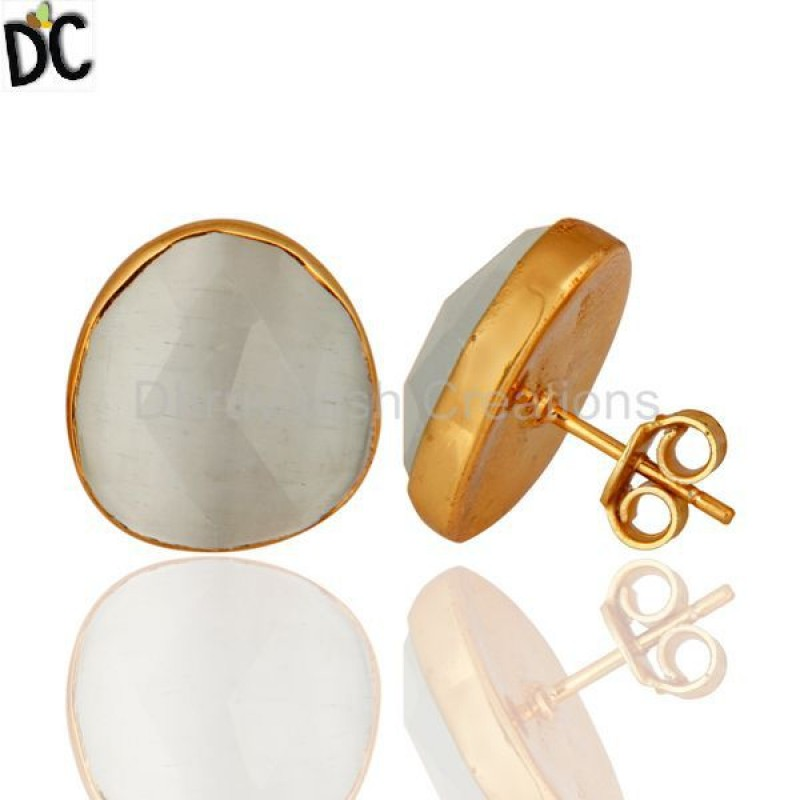 White Moonstone 925 Silver Earring Wholesale Gold Plated Earring